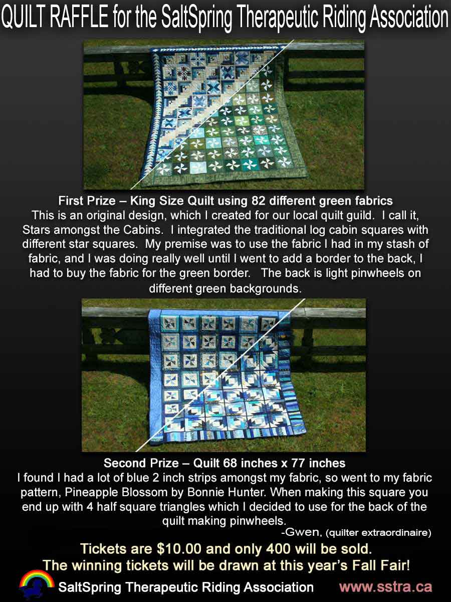 Quilt Raffle Salt Spring Therapeutic Riding Association